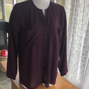 Mossimo Large sheer blouse burgandy